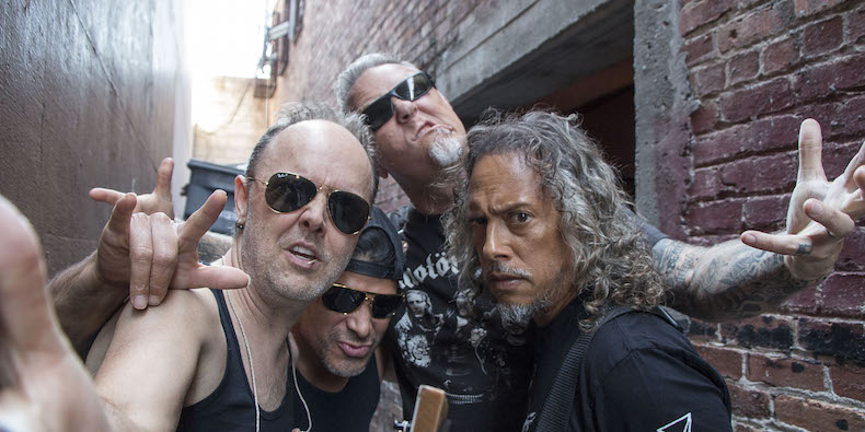 BERKELEY, CA - APRIL 16: Lars Ulrich, Robert Trujillo, James Hetfield and Kirk Hammett of Metallica perform on Record Store Day at Rasputin Music on April 16, 2016 in Berkeley, California. (Photo by Jeff Yeager/Metallica/Getty Images)